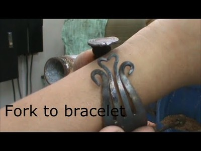 Making a decorative fork bracelet (messing around in the shop)