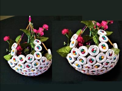 Newspaper - Hanging Flower Basket. DIY Newspaper Crafts. Best out of Waste