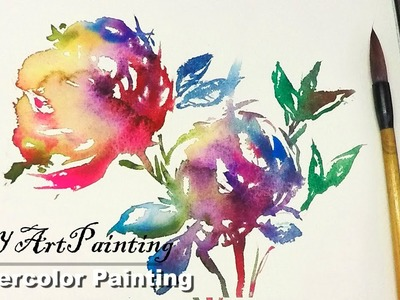 Painting Abstract Flowers in Watercolor ( New )