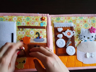Quiet book for girls The dollhouse with Kitty