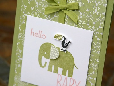 Stampin' Up New Baby Card using Zoo Babies