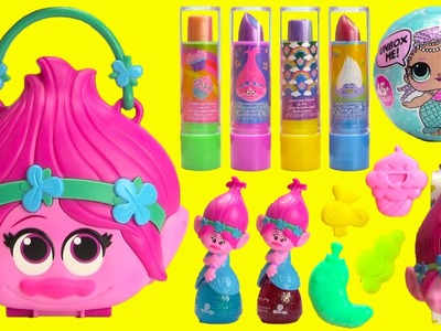 Trolls Poppy Purse Glam Layered Lip Gloss and LOL Surprises