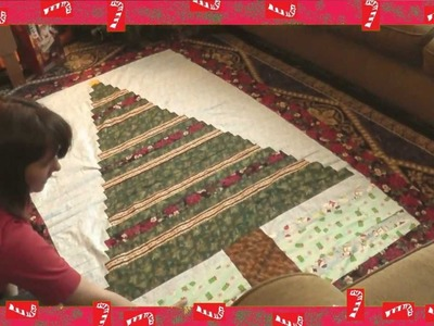 Beginner's  CHriStMaS tReE qUilt from Spare Fabric and Ribbon!! recycled!