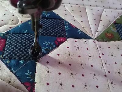 Block work Ann's quilt Part 2 Longarm Quilting free motion