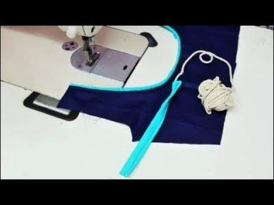Cross Cut Neckline Thread Piping Simple & Easy Methods (DIY)