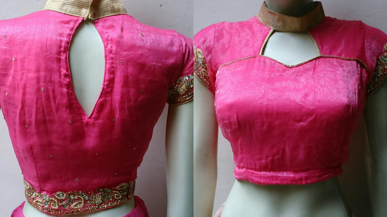 Collar Neck Cut Out Shoulder Ready Made Blouse