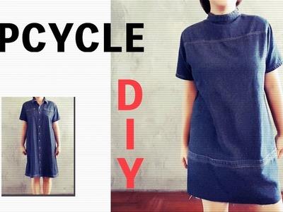DIY Upcycle Denim Dress to Boxy Mini Style, Front to Back