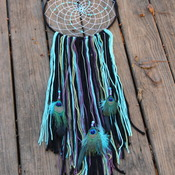 Dreamcatcher | Black Blue Purple Green | Swirl Beads | Peacock feathers | Modern | Boho | Hippie | Wall hanging | 12-in Hoop