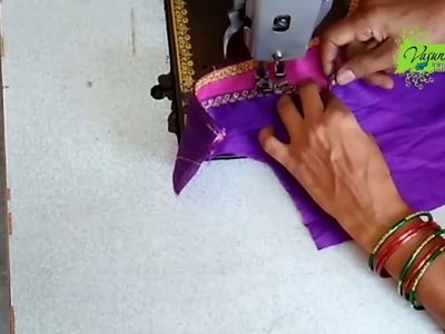Easy Blouse Cutting and Stitching in Telugu || How To Cut and Stitch Latest Bridal Blouse at Home