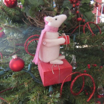 Emily's Gift.  A little handmade cute mouse perfect to tuck into a Christmas Tree, Christmas Decor