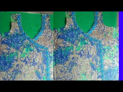 Front Neck design (Angrakha) cutting and stitching bd5a23eb6