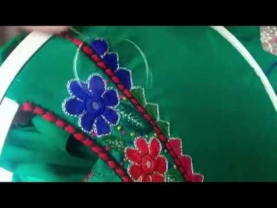 Hand Embroidery :New Bharwaan design.The house stitch