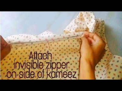 How to attach invisible zip (side of kameez.gown)