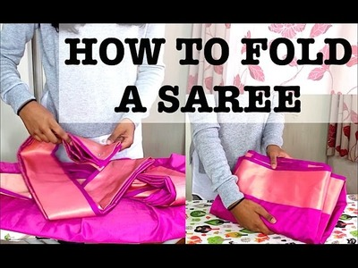 How To Fold a Saree After Pleating & Ironing For Travel Tutorial | Thuri Makeup