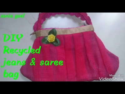 How to make a handbag. old Waste jeans &saree. jeans purse