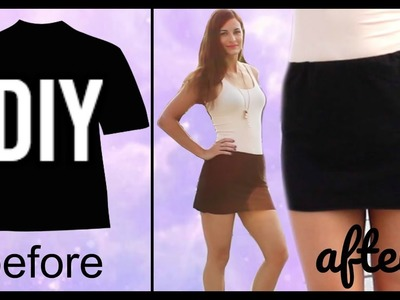 How to make a Sexy Mini Skater Skirt from a T shirt -UPCYCLED CLOTHING HACKS