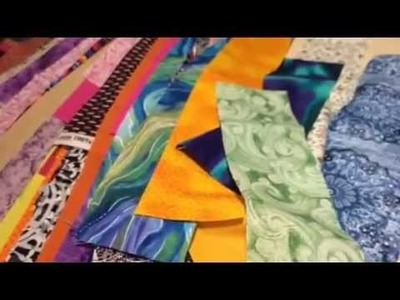 How to sew a straight diagonal line while doing a Jelly Roll Scenic Tour Quilt.