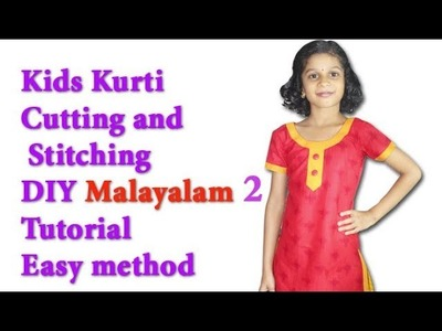 Kids kurti neck cutting and stitching Malayalam Tutorial with back Zip easy method part 2