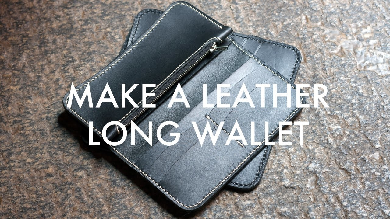 Make A Leather Long Wallet with Zipper - Build Along Tutorial
