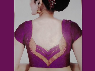 Perfect blouse back neck design cutting and stitching at home (DIY) # saree blouses for women