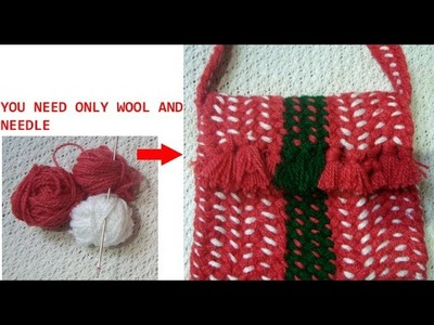 Recycle old wool and needle to make this handmade bag.purse.pouch.best out of waste