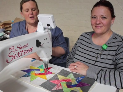 SASQA Video 14 How to quilt the Spinning Stars row with Heather Hopkins
