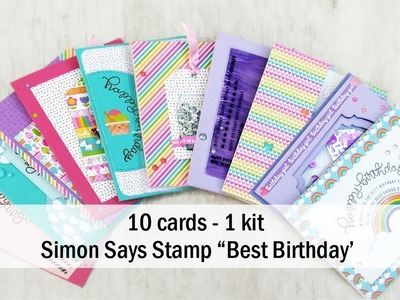 10 cards 1 kit | Simon Says Stamp card kit of the month ''Best Birthday''