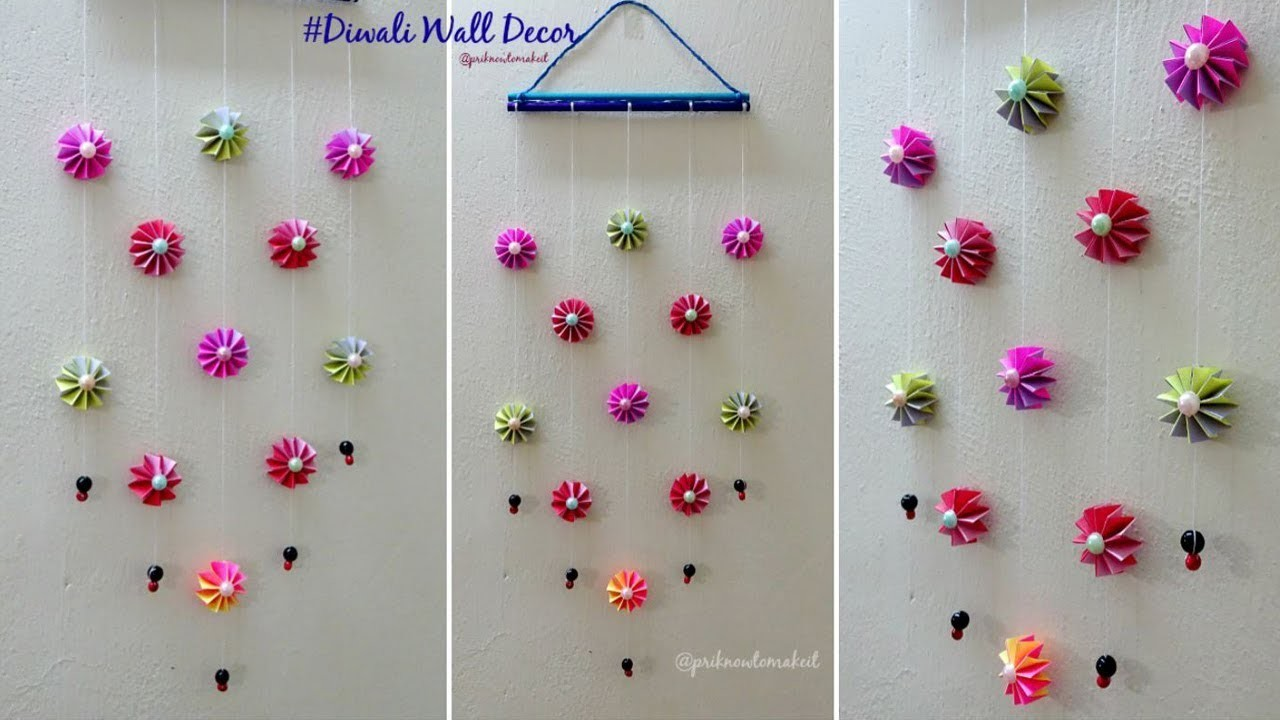 DIY wall decoration idea, how to make easy paper wall hanging for diwali decoration