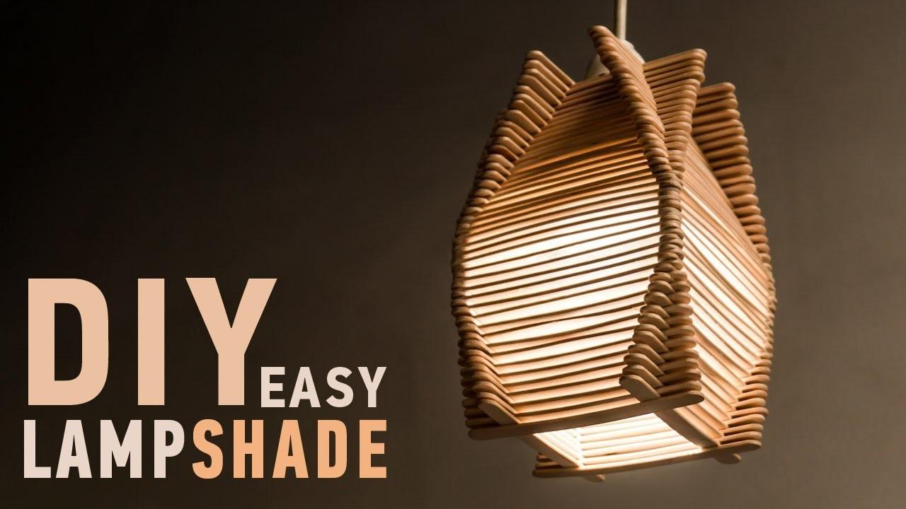 Easy diy ideas for homedecor making craft stick lampshade for Room decor ulhasnagar