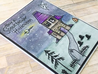 Halloween Card Series 2017 | Stampendous Spooky House | Watercolour
