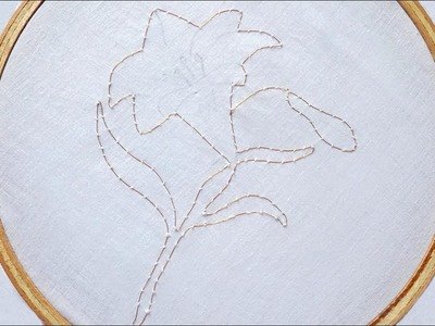 Hand Embroidery Design of Wired Based Lily Flower ( Part 1 )