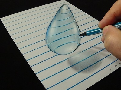 How to Draw 3D Water Drop - Trick Art with charcoal & Pastel - VamosART