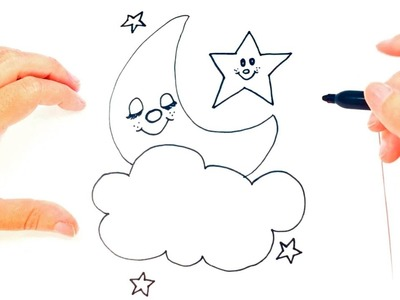 How to draw The moon | Moon Easy Draw Tutorial