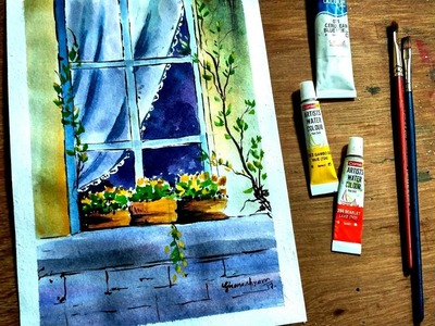 How to paint a windows and flowers in watercolor | Paint with david