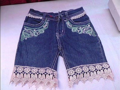 HOW TO SEW STYLISH KIDS SHORTS JEANS CUTTING AND STITCHING