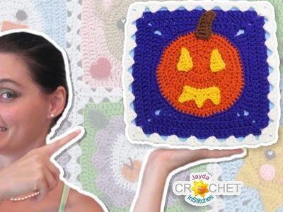 Jack-O-Lantern Blanket Square - Crochet Motif - October