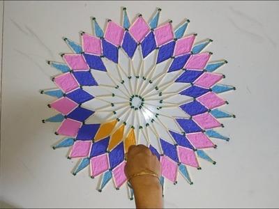 Matchsticks are use for making Innovative Rangoli Design.  Mom's Talent 