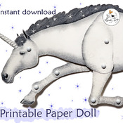 Unicorn pattern Christmas gift decoration. Articulated paper doll
