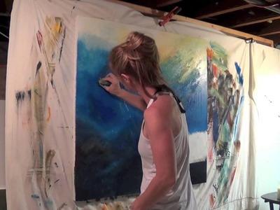 "Abstract Art Painting Demo - Original by Shari Kreller - ""Ocean Rush"""