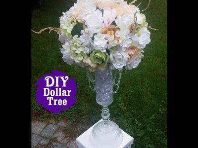 DIY Dollar Tree l Wedding Reception Table  Centerpiece l Tall Flower Vase Tutorial