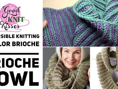 How to Knit 2 color Brioche Cowl made easy