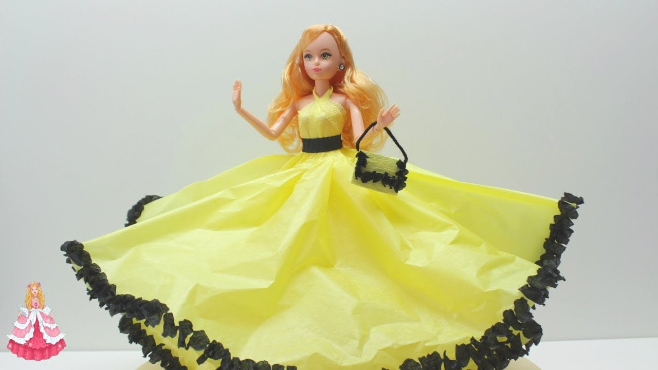 How to Make a Cinderella Yellow Doll Dress from Tissue and Crepe Paper - Doll Dress Fun