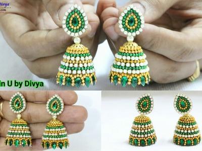 How To Make Designer Silk Thread Earrings at Home. Fancy Earrings. Silk Thread Jhumka Earrings