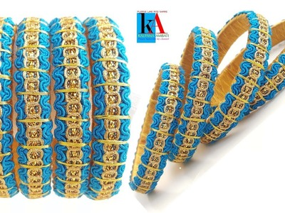 How to Make Silk Thread Fancy Side Bangles using #zari Thread and lace Simple and easy at home
