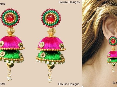 How to Make thread Earring jumkas partywear at home step by step earrings making tutorials
