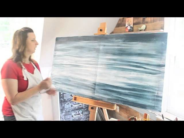 How to Paint a Giant Abstract Ocean Water Painting
