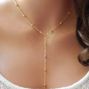 Lariat Necklace •Holiday Gift • Kylie Jenner • Beaded Lariat • Gold Y Necklace • Popular Y Necklace • Gift for Her • Minimal Necklace