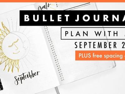 Plan With Me September 2017 | Bullet Journal Setup | Free Printable Spacing Guide | Sun and Moon