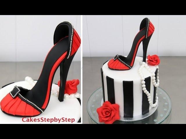 Silver High Heel Shoe Cake Topper