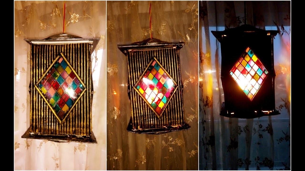 Tutorial newspaper lantern craft diy newspaper lantern for Home decorations diwali
